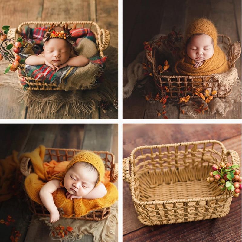 إكسسوارات تصوير الأطفال ، سلة استوديو منسوجة ، إكسسوارات صور لحديثي الولادة