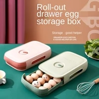 household refrigerator fresh egg box drawer type kitchen storage box with cover can be superposed with rolling egg finishing box