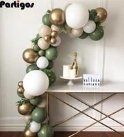 84pcs avocado green balloon garland arch kit chrome gold latex balloon set birthday party decorations kids baby shower supplies