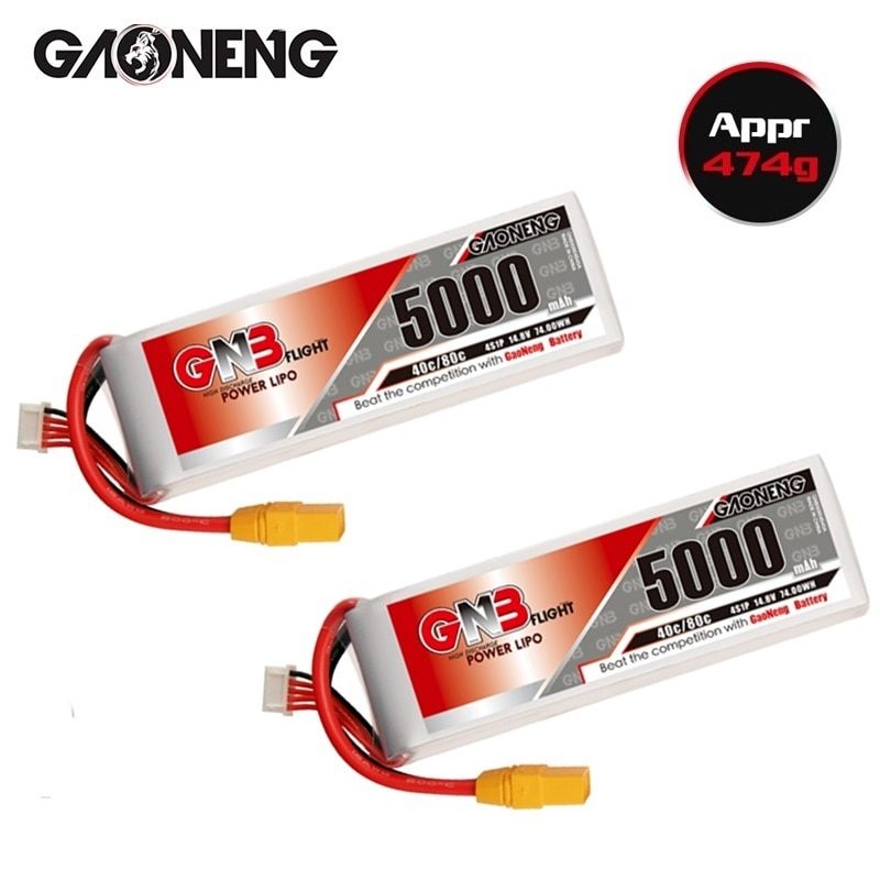 Gaoneng GNB 4S 14.8V RC LiPo Battery With T/XT60/XT90 Plug 5000mAh 40C MAX 80C For RC Quadrotor Airplane FPV Racing Drone Parts