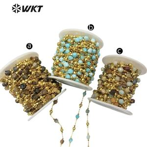 WT-RBC134 WKT Multicolor Optional Natural Stone Beads And Brass Chain Gold Electroplated Rosary Chain For Women Stylish Jewelry