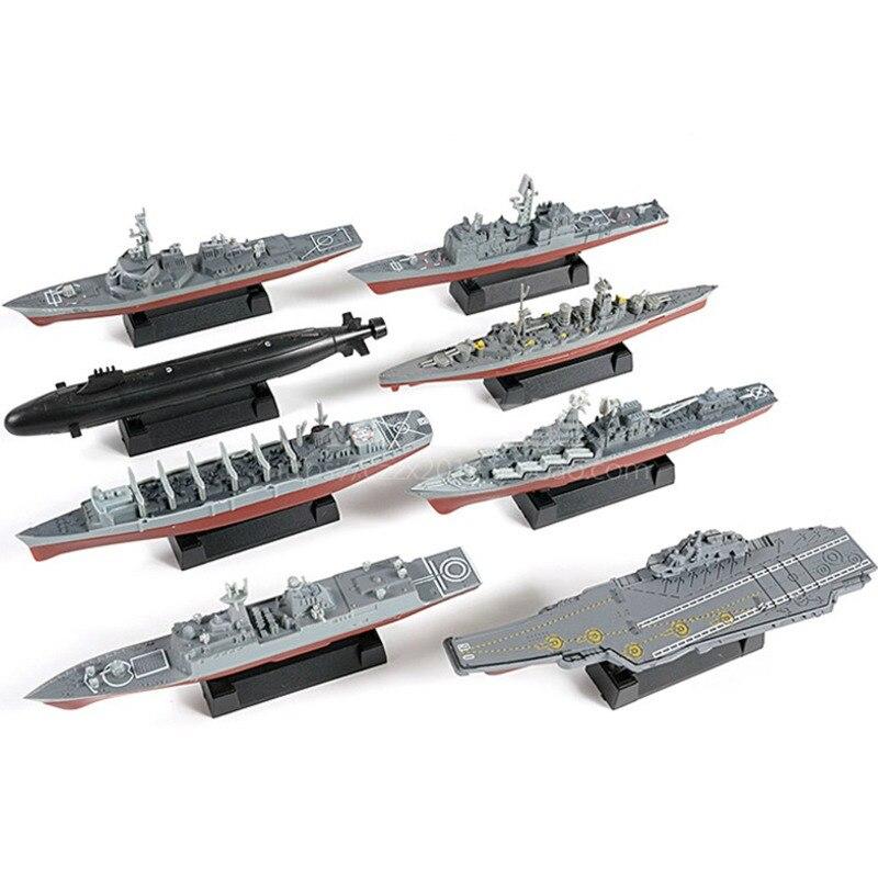 8 Uds. Conjunto de construcción de buque de guerra militar, juego de rompecabezas para niños, crucero, destructor, submarino Nuclear Brinquedos