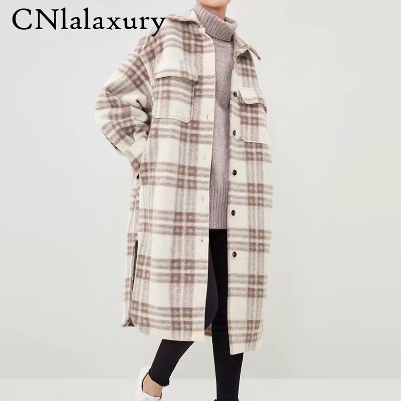 جديد إمرأة الخريف الشتاء قمصان مربعة النقش معطف صوف 2020 كم طويل Pockets جيوب سترة الإناث ملابس خارجية فضفاضة غير رسمية معطف