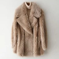 2020 women winter real wool fur warm tan jacket coat oversized office lady middle length fashion turn down collar female clothes