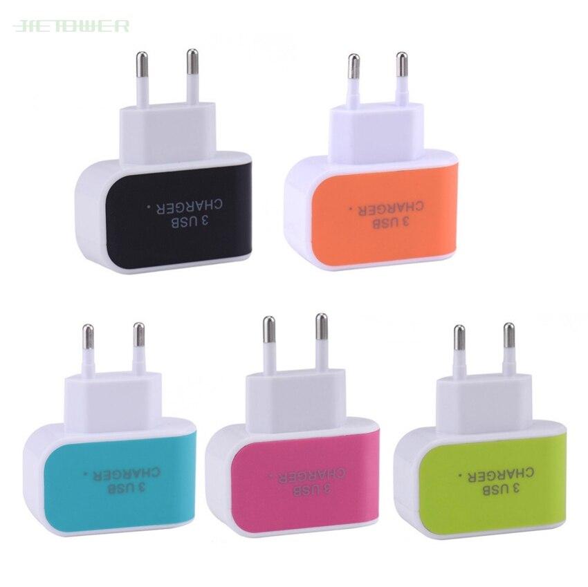 300 unids/lote Candy Color 5V 3.1A US EU enchufe 3 puertos USB pared hogar viaje AC cargador adaptador para IPhone 8 7 6 Samsung S6 S7 Huawei
