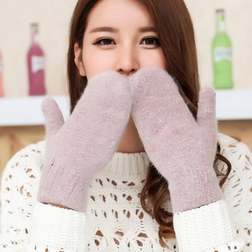 Double-layer Wool Knitted Gloves Winter Warm Version Of Solid Color All Fingers Winter Cold Gloves G