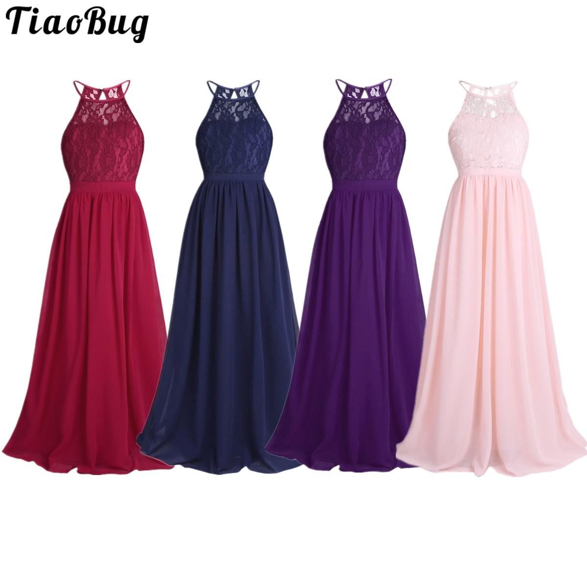 Girls Lace Chiffon Sleeveless Halter Flower Girl Dress Princess For Pageant Wedding Bridesmaid Birth