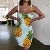 giyu colorful dresses women pineapple vestido sexy rainbow 3d print nebula halter sleeveless womens clothing club new beach