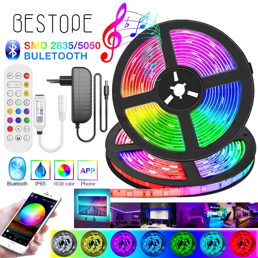 High-end Bluetooth RGB LED Strip Light SMD 5050 Flexible Ribbon 2835 LED Light 20M-5M Tape Diode DC12V Bluetooth Music Control