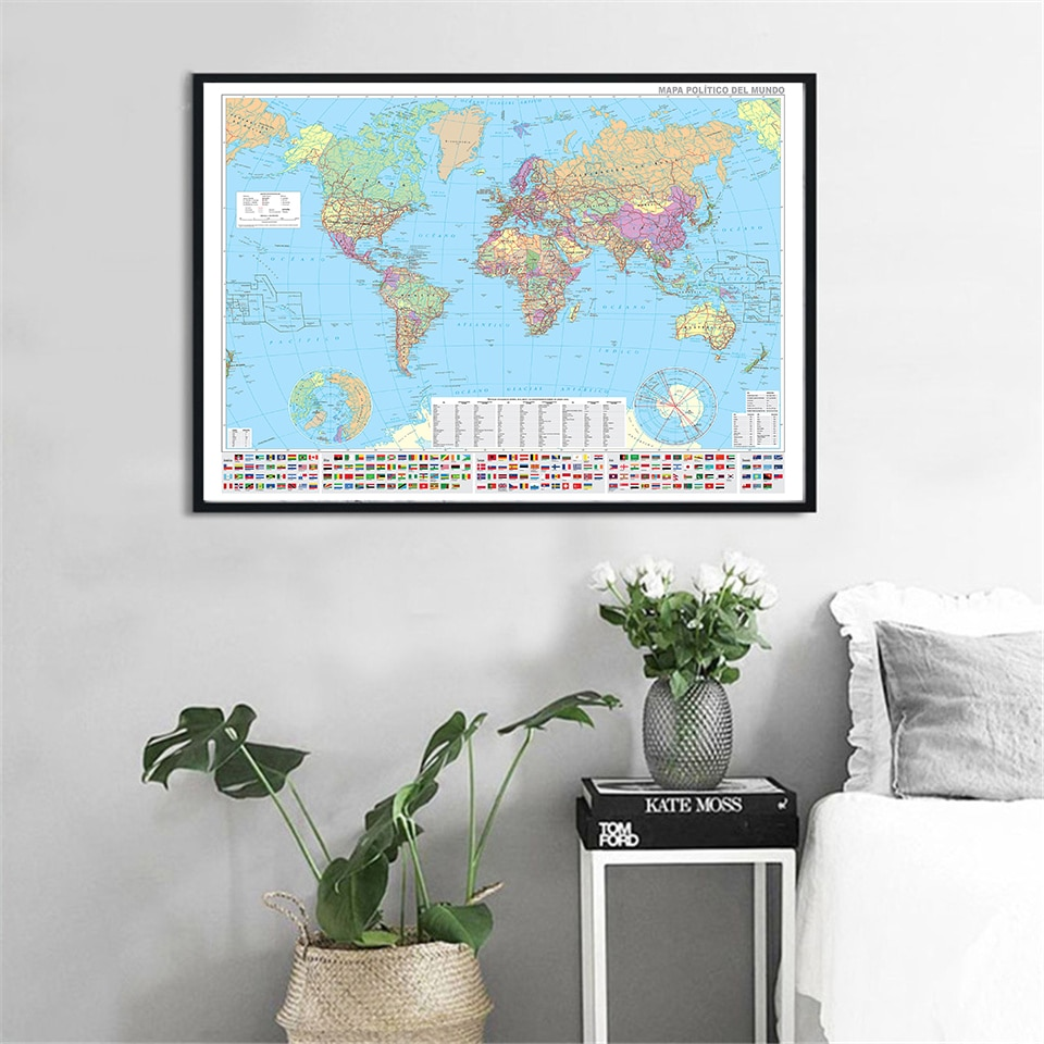 90*60cm The World Map In Spanish with National Flags Canvas Painting Wall Poster Living Room Home Decoration School Supplies