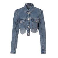 jessic womens spring new lapel pocket glitter short paragraph fringed denim jacket motorcycle jacket new fashion