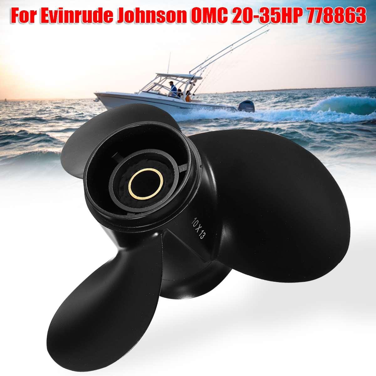 10x13 морской подвесной Пропеллер для Evinrude Johnson 15-35HP 778863 / 175191 алюминиевый сплав Черный 14 сплайнов зубной пропеллер