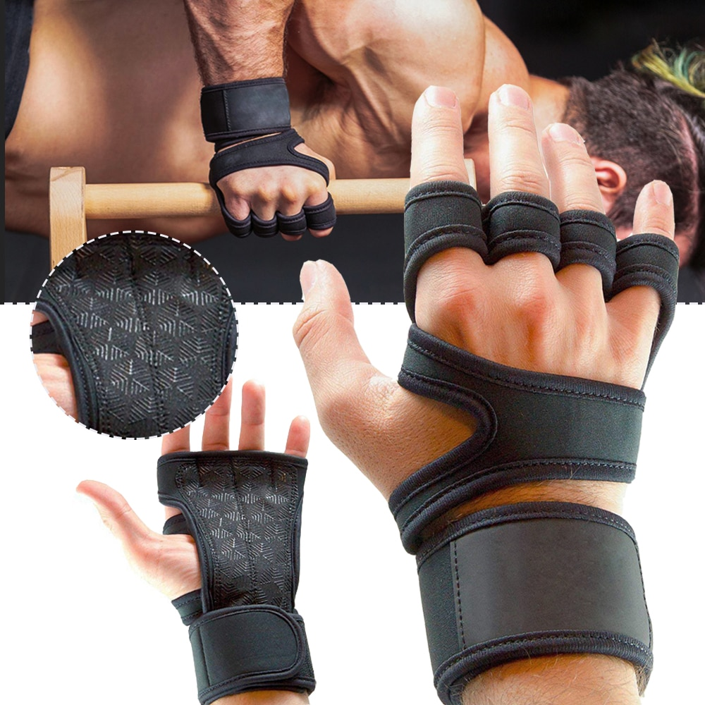 1 Pair slip Sports Gym Fitness Gloves Shockproof Weight Lifting Training Glove Half Finger MTB Cycli