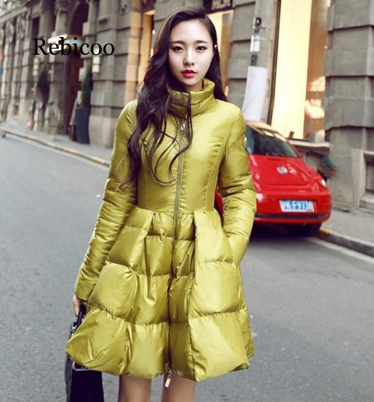 2019 autumn and winter new coat black stand collar big hem womens retro warm thin