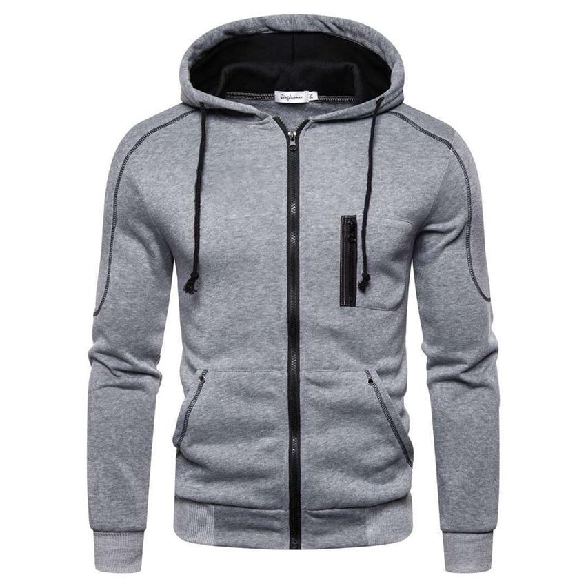 Мужская толстовка с вертикальной молнией, Повседневная Толстовка из чистого хлопка, мужская приталенная куртка высокого качества, весна и ...