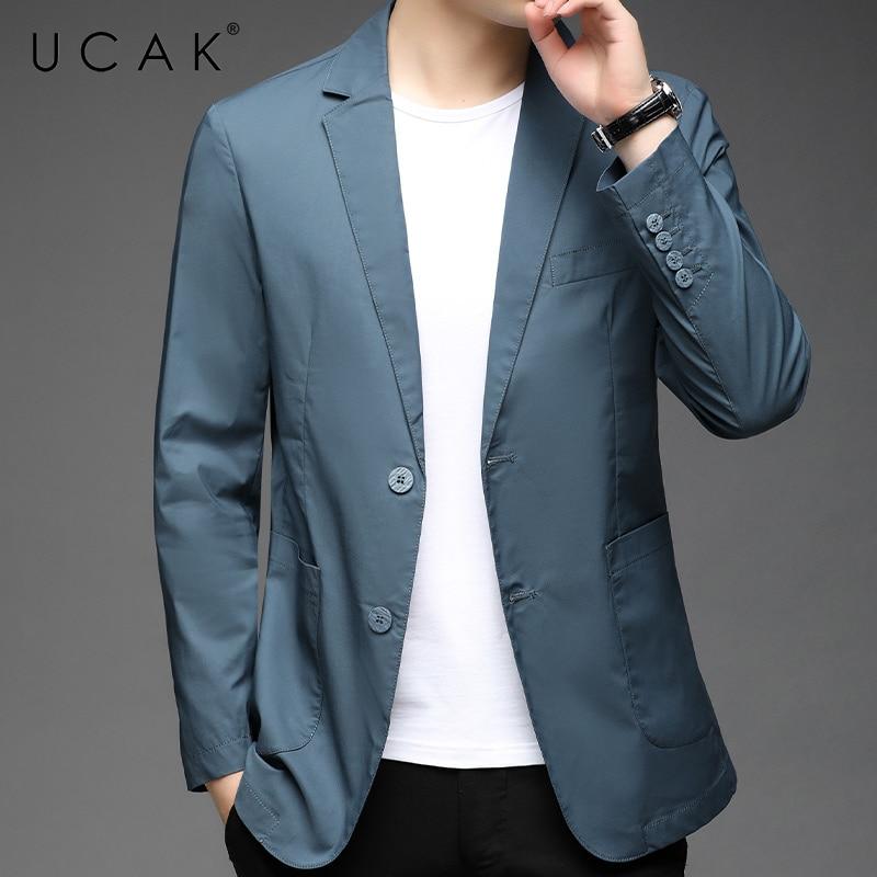 UCAK Brand New Arrival Spring Autumn Streetwear Men Blazer Clothing Casual Solid Color Single Breasted Blzaer Jacket U8256
