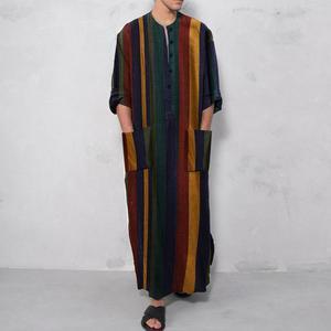 Mens Arabic  Muslim Dresses Long Abaya Kaftan Islamic Fashion Stripe Patchwork Shirts Ethnic Men's Clothing Dress 2021