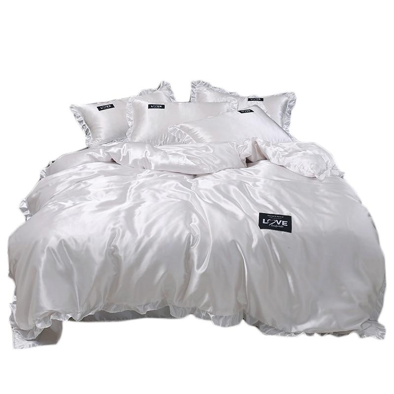 طقم سرير من الساتان الخالص والدانتيل ، للبالغين ، غطاء لحاف فاخر مع كيس وسادة ، سرير فردي ، مزدوج ، مقاس كوين وكينغ ، أبيض