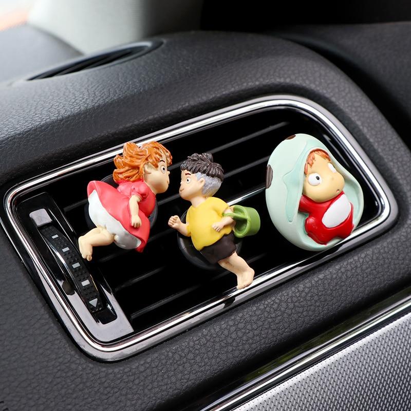 Ambientador de ventilación de coche, decoración de Clip, difusor de coche, adorno Personaje de Anime, Ponyo en el acantilado, decoración creativa de coche por el mar
