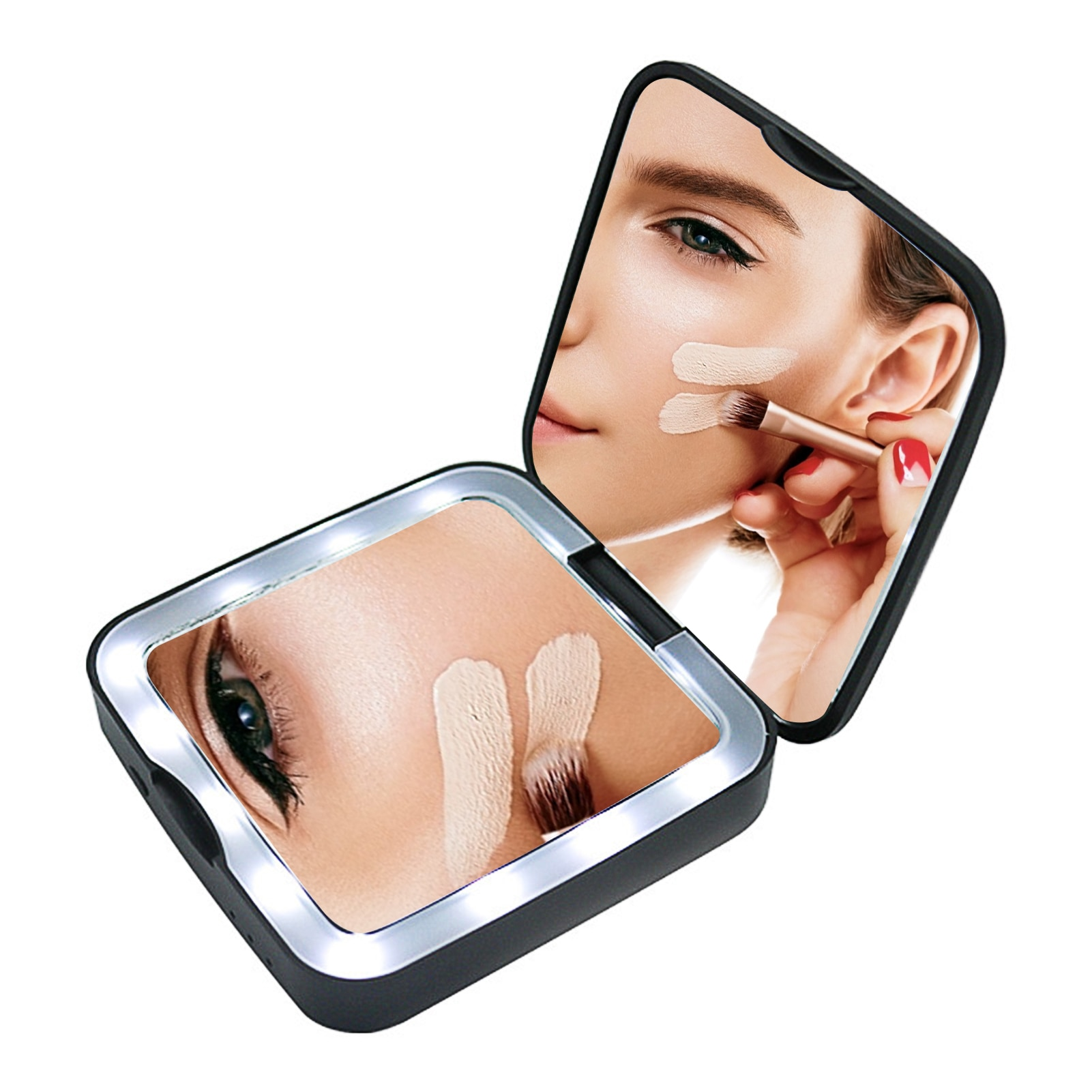 5X Magnification Makeup Mirror Portable LED Lamp Folding Mirror Wireless USB Charging Cosmetic Mirror Dressing Mirror Power Bank