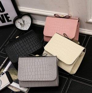 Wholesale New Korean Women Bag Trend Crocodile Pattern Shoulder Bag Fashion Small Square Bag Casual Bow Crossbody Bag