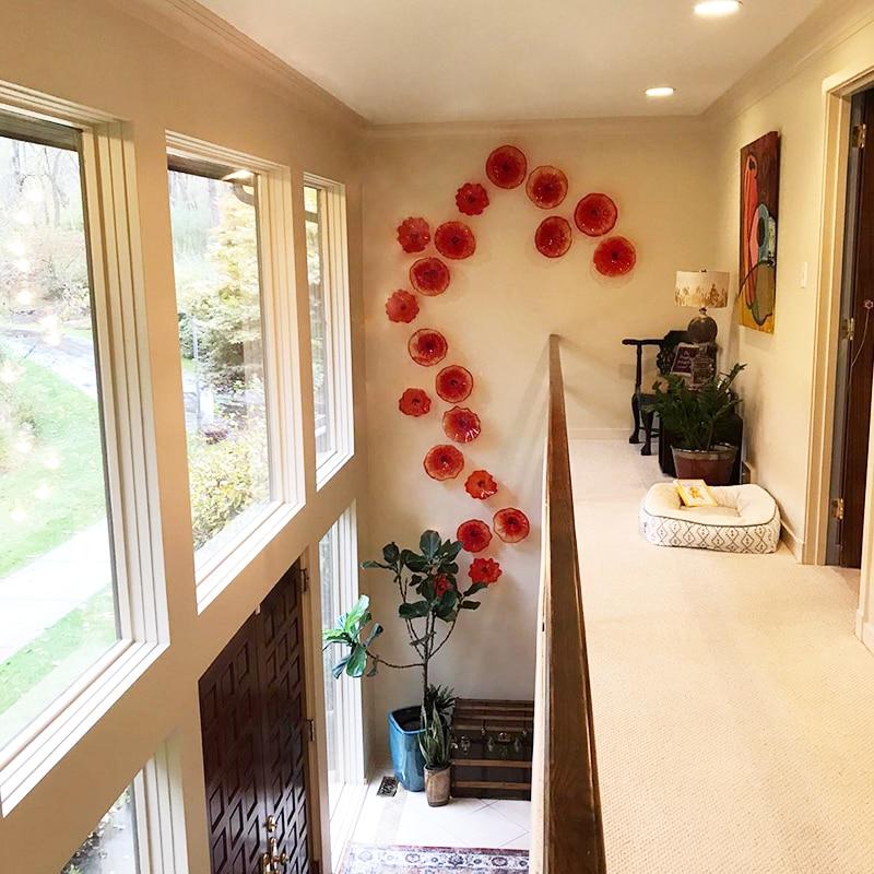 Nueva Lampara de pared de cristal de Murano naranja para pasillo de vestíbulo