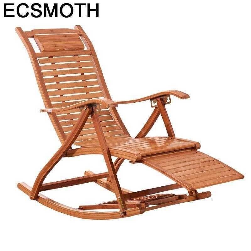 Cama Plegable de bambú mecedora Para salón, sillón Moderno Para Sala de estar, Reclinable