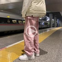 men jeans fashion new loose straight jeans pants man casual baggy jeans denim trousers mens and womens pants pinkblackblue