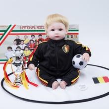 18 pouces reborn poupées silicone bonecas football bébé reborn poupée enfant en bas âge belgique
