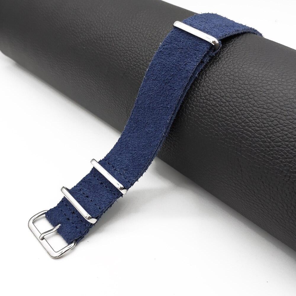 ¡Novedad! Correa de reloj militar de piel de ante de alta calidad zulu 20mm 22mm azul negro caqui marrón selección de colores