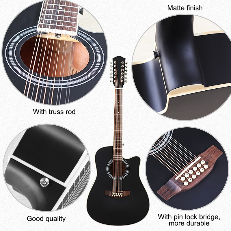 40 inch acoustic guitar 12 string 41 inch folk guitar high gloss guitar acoustic spruce wood top red and black enlarge