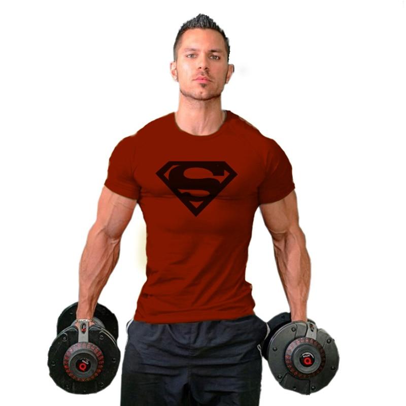 Summer Men Gym Running T shirt Fitness Bodybuilding Letter Printed Male Batman superman Short Cotton Running Sport Tee Tops