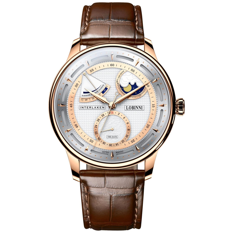 ساعات Moonphase ، ساعة يد أوتوماتيكية ، رجالي, ساعات رجالية فاخرة ، ساعة ذاتية الملء ، مصنوعة من الجلد الياقوت ، احتياطي للطاقة