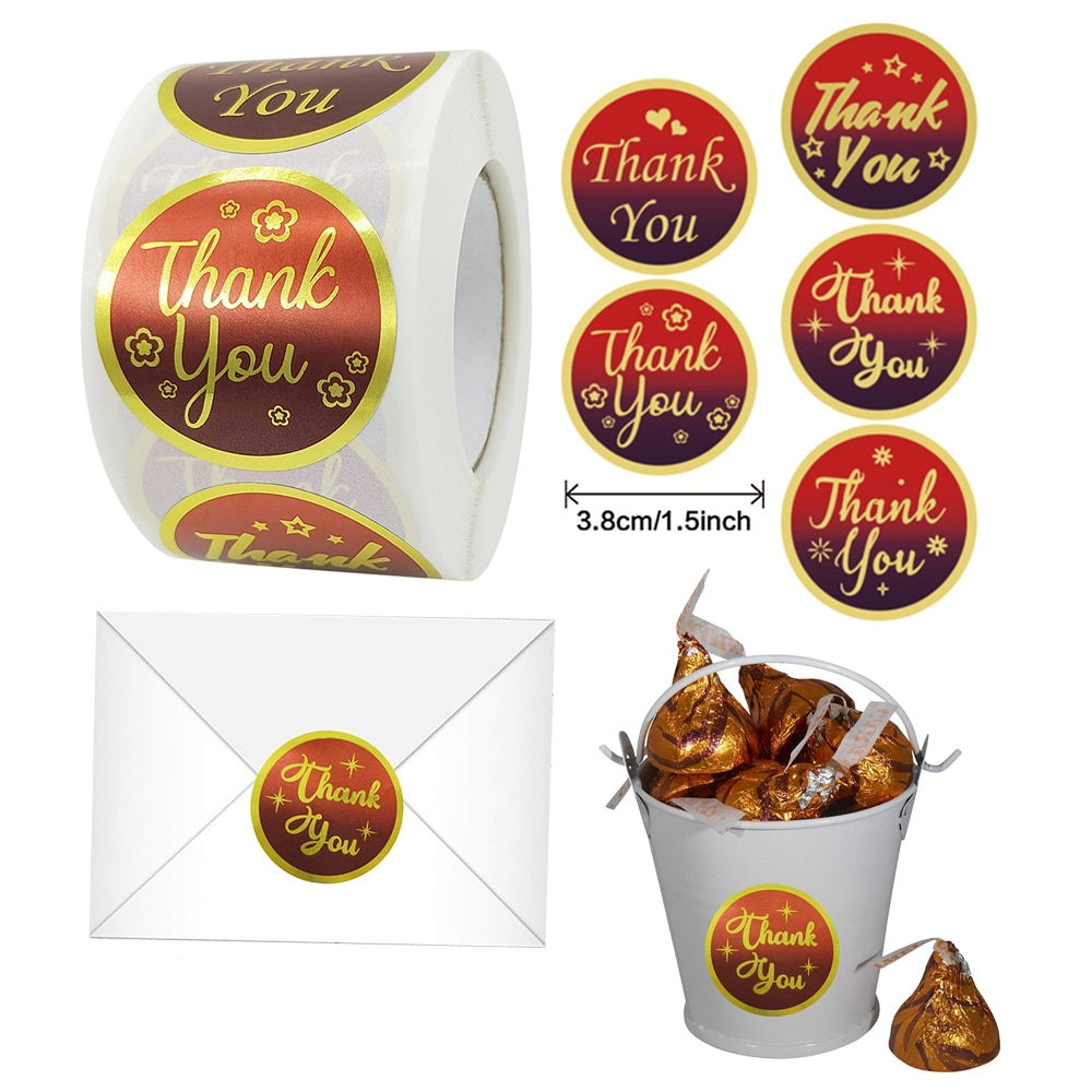 500pcs 3.8cm Christmas Thank You Cute Stickers New Year Gift Packing Sealing Label Wedding Decoration Kawaii Stickers
