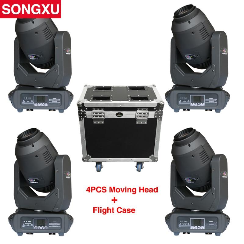Iluminación con cabeza giratoria SONGXU 250W haz/punto/Zoom con Prisma de 8 caras 4 Uds. Con 1 caja de vuelo para luz de fiesta para escenario/SX-MH250