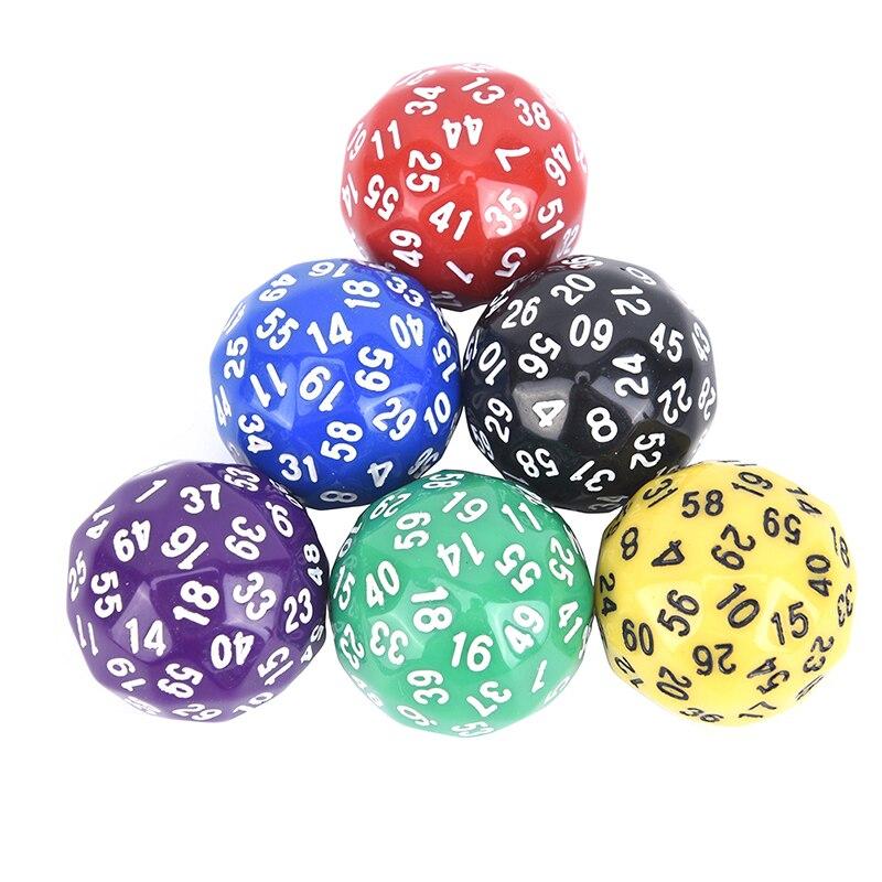 1 Uds. 60 dados de cara para juego poliédrico D60 dados acrílicos con varios lados regalo para los amantes del juego TRPG