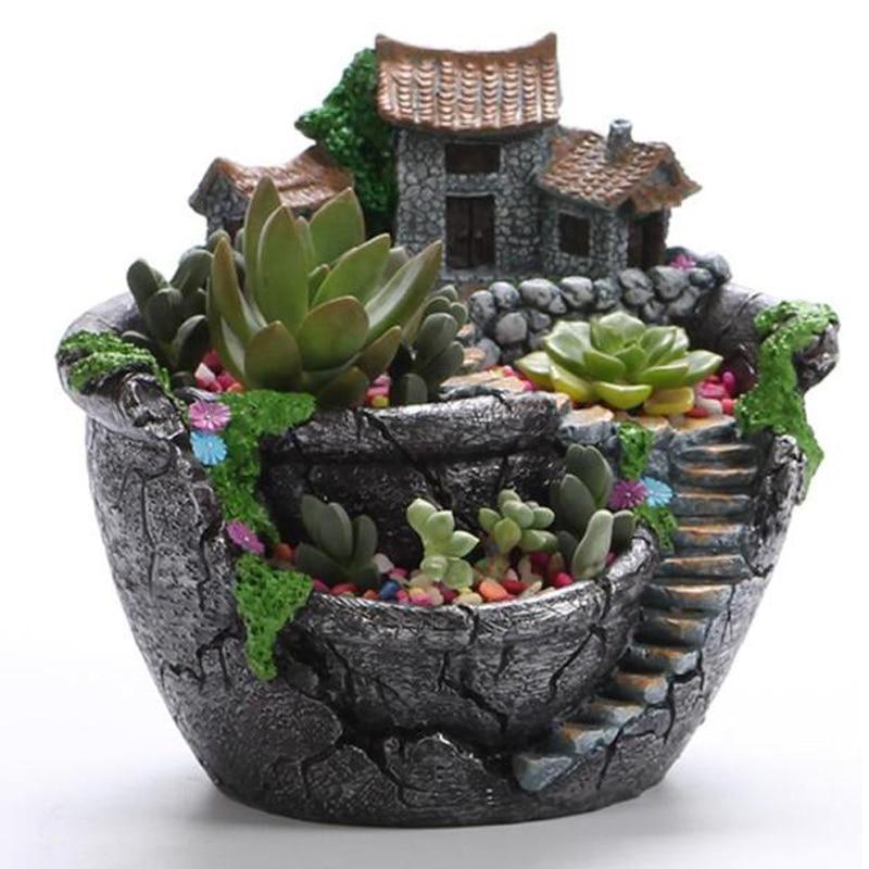 Suculenta planta plantador resina de maceta soporte de escritorio en maceta decoración de jardín para hacer uno mismo soporte de plantas