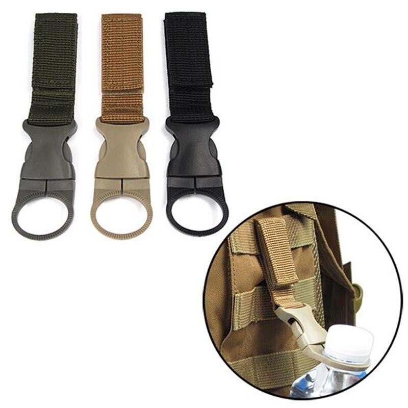 Outdoor Military Nylon Webbing Buckle Hook Water Bottle Holder Clip EDC Climb Carabiner Belt Backpack Hanger Camp