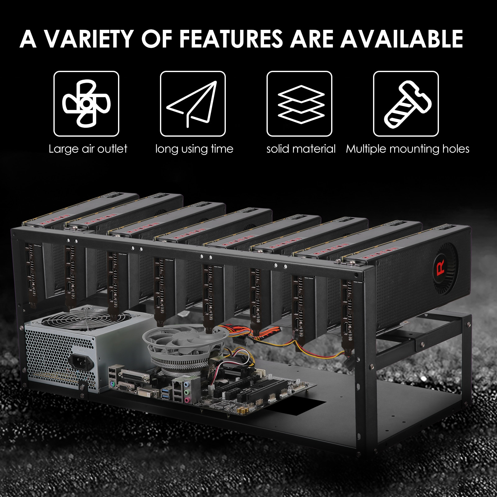 8GPU Open Miner Mining Rig Frame Case Motherboard Board Bracket Bitcoin Video Card Miner Kit Farm Rack Mineria Cooling Fan enlarge