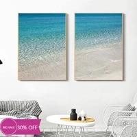 Toile de decoration de noel  peinture bleue  affiche murale de bord de mer  de plage  Art Mural  pour decoration de salon  decoration de maison