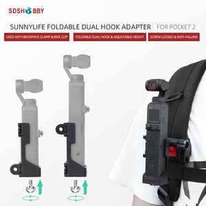 Sunnylife Foldable Dual Hook Adapter Base Mount Connecting Backpack Clamp Bicycle Clip Accessories for Pocket 2