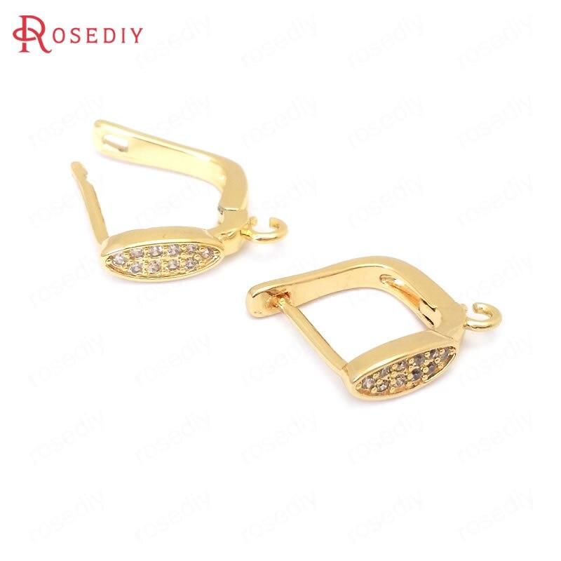 (38412)4PCS 9MM 24K Gold Color Brass and Zircon Long Oval Shape Stud Earrings Pins Earrings Clasps Jewelry Making Supplies