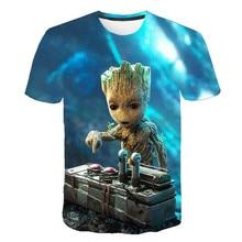 The guardian of the superhero Groot movie galaxy t-shirt summer new men's 3D printed men and women short-sleeved t-shirt s-6xl