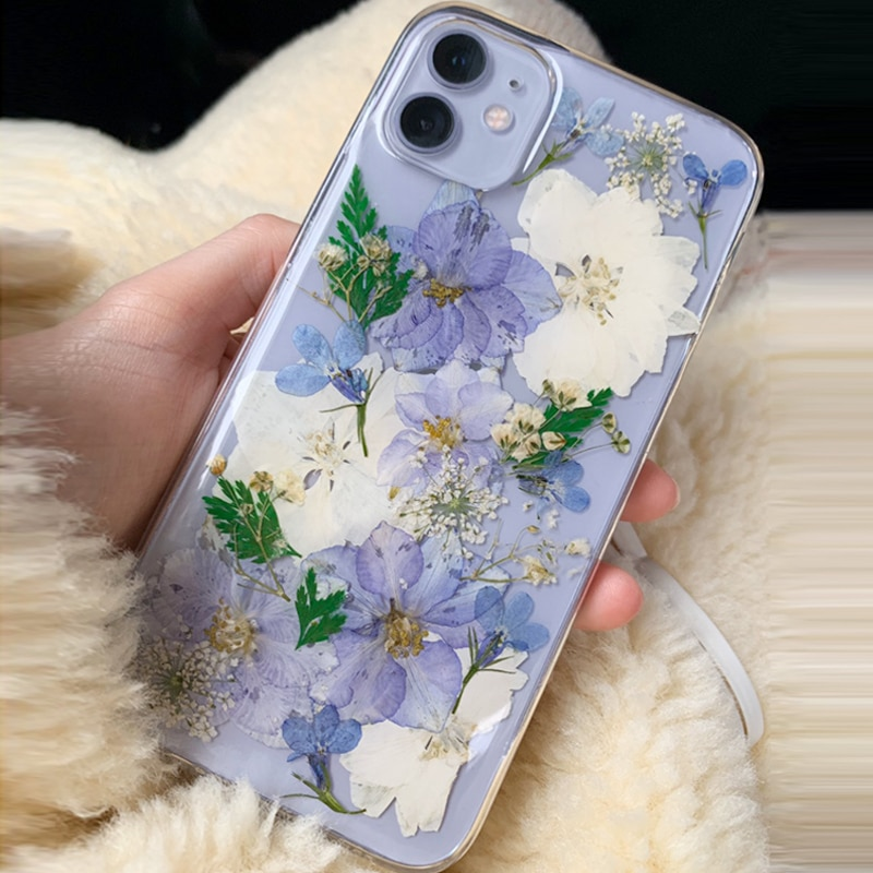 Funda de teléfono LOVECOM seca con hojas de flores reales para iPhone 11 Pro Max XR X XS Max 7 8 6S Plus, funda transparente, funda blanda de teléfono epoxi
