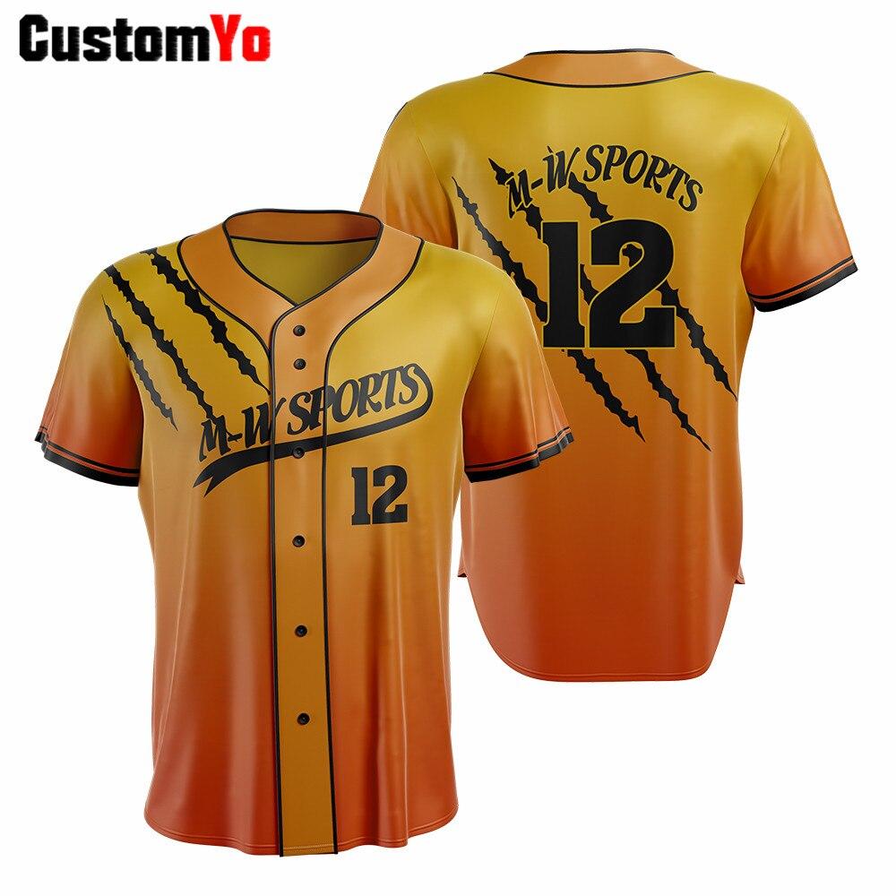 Sublimación joven personalizada manga larga con botones béisbol hombres béisbol Camiseta 100% poliéster camiseta