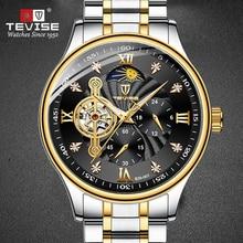 TEVISE Brand Men Watch Automatic Mechanical Male Clock Waterproof Analog Wrist Watch  Moon Phase  To
