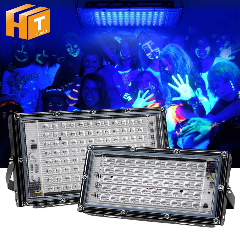 UV LED Floodlight 50W 100W Ultraviolet light 395nm Lamp 220V Fluorescent Bulb Black Light for Hallow