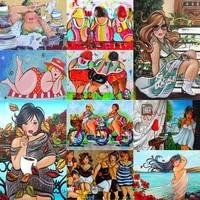Peinture a lhuile avec chiffres  dessin anime  Fat Lady  femmes  vie  peinture acrylique  dessin sur toile  peint a la main  decor de maison