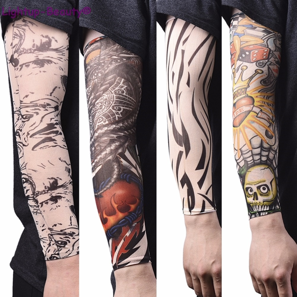 ching yun new fashion tattoo sleeves arm warmer unisex uv protection outdoor temporary fake tattoo arm sleeve warmer two sleeves Skin Protective Arm Warmer Nylon Stretchy Fake Tattoo Sleeves Design Arm Tattoos Cool Men UV Protection Women Tattoo Sleeves