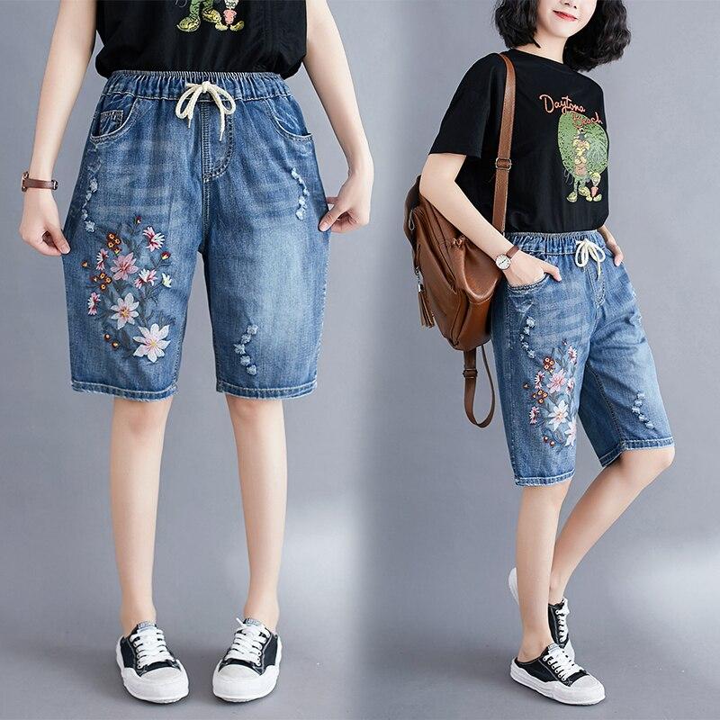 Шорты женские рваные с цветочной вышивкой, на шнуровке, с эластичным поясом, повседневные свободные джинсовые, в народном стиле, на лето   Женская одежда   АлиЭкспресс